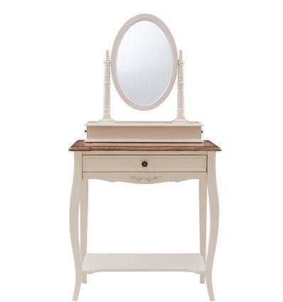 """MK-5031-AWB. Столик туалетный с зеркалом (овал) """"Florence"""" (70х40х142 см) DRESSING TABLE WITH MIRROW (oval), цвет: Молочный+Итал"""